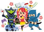 Japanese Cartoon of Robot, Maid and Ninja